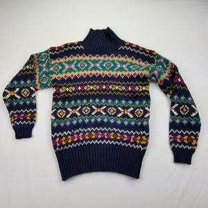 Vintage Women's Sweater Multi-Colored Mock Nec1025